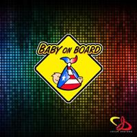 BABY ON BOARD WITH PUERTO RICO RICAN  FLAG VINYL CAR STICKER DECAL