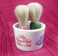 1786 Shaving Mug Shulton Old Spice Ship Salem 2 Brushes Industria Argentina Vtg