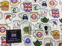 White London Mugs, Cups, London, England Printed 100% Cotton Poplin Fabric.