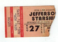 jefferson starship ticket stub springfield civic center aug. 27, 1975