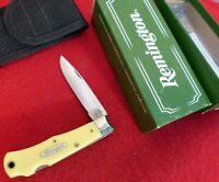 Remington USA Made mint in box RY4 Yellow delrin mountain man lockback knife
