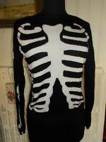 Pull fin doux noir CHOIES S 34/36 Impression squelette blanc