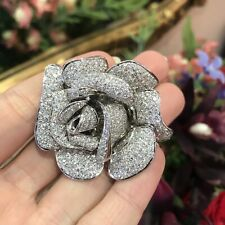 Large Diamond Rose Flower Brooch / Pin in 18k White Gold 7 CTW - HM2058EE