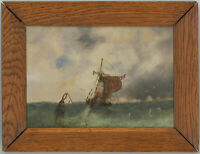 Framed Early 20th Century Gouache - French Boat Caught in Rough Seas