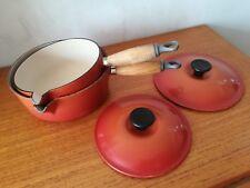 2x Le Creuset Cast Iron Saucepans & Lids Cherry Red