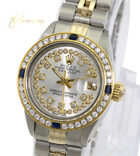 Rolex Lady Datejust 26mm Silver String Diamond Dial Diamond Sapphire Bezel