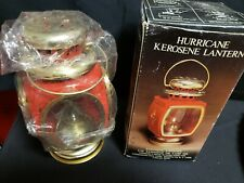 NIB VTG Red Metal Kerosene Oil Carriage Lantern Lamp Hong Kong Hurricane Train