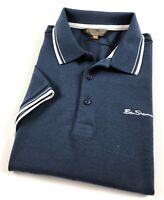 Ben Sherman Polo Shirt Men's Classic Fit Indigo Three Button Placket 0062104I