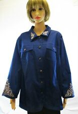 Women's Quccker Factory Blue Embellished Button Up Jacket - size 1X