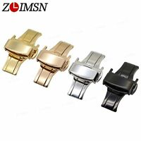 ZLIMSN Leather Watch Band Strap S/Steel Double Deployment Clasp Buckle for Omega