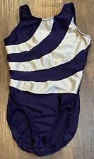 MotionWear Navy Blue & Silver Gymnastics Leotard Girls Size L (12-14) Excellent