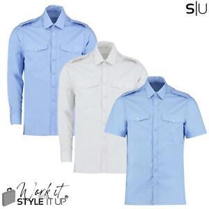 NEW Mens Pilot Shirt Plain Office Work Formal Smart Security Military Epaulettes