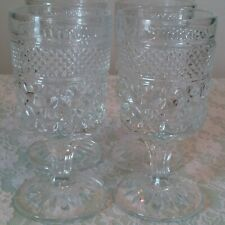 Vintage Set Of 4 Anchor Hocking Wexford Clear Glass Goblets 8 Oz