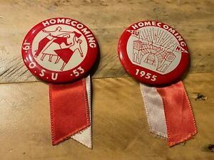 Pair of Vintage 1950's Ohio State Football Homecoming Pins - 2.25 inch diameter