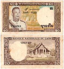 Laos 20 Kip P#11a (1963) Banque Nationale du Laos VF