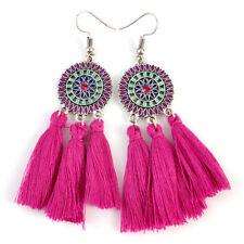 Women Bohemian Earrings Vintage Long Tassel Fringe Crystal Boho Dangle Earrings