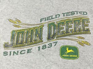 John Deere Vintage T Shirt Old Logo 90s Hanes Heavyweight XL Heather Gray Green