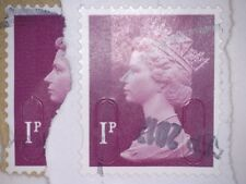 GB USED ERROR/VARIETY 1p  SECURITY STAMPS NO OVERLAY U-SLITS HIGHER /LOWER