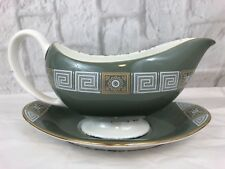 Wedgewood Bone China Asia Green Gravy Boat With Under Plate England