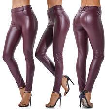 Women Push Up Faux Leather Leggings High Waist Pants Wet Look Slim Trousers G57