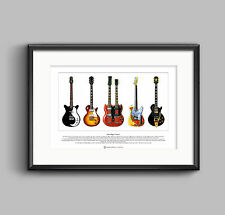 Jimmy Page's Guitars Limited Edition Fine Art Print A3 size