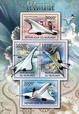 British Airways (BA) & Air France CONCORDE Aircraft Stamp Sheet (2012 Burundi)
