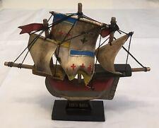 """Vintage Santa Maria  Wooden Ship 6 1/2"""" Tall"""