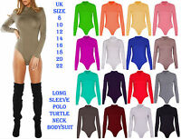 Womens Long Sleeve Turtle Cowl Polo Neck Bodycon Leotard Top Ladies Bodysuit