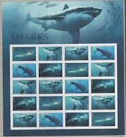 US OCEAN NATURE 2017 SCOTT #5223-5227 SHARKS 20 MINT NH FVF FOREVER STAMP SHEET