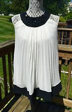 KIDDO USA GIRL'S BEADS AND SEQUINS PLEAD WHITE IVORY BABY DOLL DRESS SIZE M