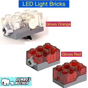 Lego Light Brick LED Electric 2x3x1 1/3 Trans-Red or Clear Top Christmas House