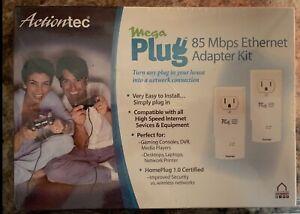 New Actiontec Mega Plug Power Lines 2 Ethernet Adapter Kit 85Mbps Booster