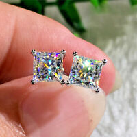 1.2Ct Princess Cut Diamond Solitaire Women Stud Earrings 14K White Gold Over 001
