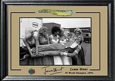 James Hunt signed autograph F1 Champion Memorabilia Deluxe TOP QUALITY FRAME