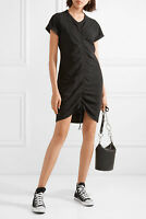 T by Alexander Wang Gathered Front stretch-cotton jersey mini dress in black NEW