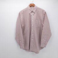 Brooks Brothers Men's Medium Original Polo Shirt Orange White Blue Plaid no iron