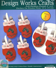 Felt Embroidery Kit ~ Design Works XMAS 6 Mittens Silverware Pockets #DW5359