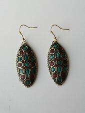 Tibetan Earrings - Boho/Hippy/Ethnic Style.  Brass,Turquoise,  Red.