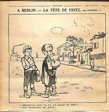 Caricature Humour Berlin Fête de Fritz Enfants Pain Dessin Castrot WWI 1916