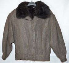 Leather Bomber Jacket Zip-Out Opossum Fur Lining Vest Brown Pattern Women's L