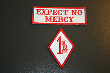 2 patch set 1%er & EXPECT NO MERCY red&white patches SC biker club supporter