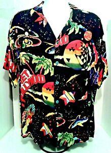 Vintage 90s LG Planet Hollywood Space Neon Surf Shark Hawaiian Rayon Shirt RARE