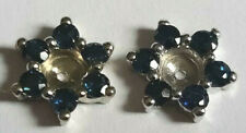 Earring Jackets!  12 Round Blue Sapphires For Halo Studs 14k White Gold Estate