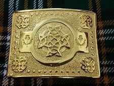 Men's Scottish Kilt Belt Buckle Celtic Knot Work Gold Plated Highland Buckles
