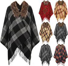 Collared Hip Length Poncho Jumpers & Cardigans for Women