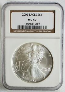 2006 American Silver Eagle One Dollar Coin $1 US Certified NGC MS69 UNC