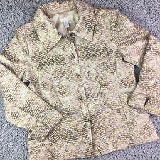 CHICO'S Size 1 Jacket light weight gold silver toggle silk metalllic blazer
