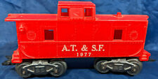 Marx O Scale AT & SF 1977 RED CABOOSE. METAL BASE & WHEELS. VINTAGE