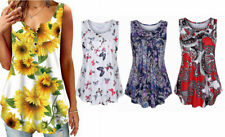 Women Swing Tunic Summer Flare Tank Top Shirts Sleeveless Beach Cover Floral