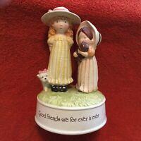 "Vintage Holly Hobbie Porcelain Music Box  Friends 7 1/4"" Tall"